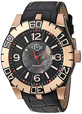 GV2 by Gevril La Luna Mens Swiss Automatic Black Leather Strap Watch, (Model: 8002)