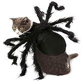 SD Costume da Ragno per Animali Domestici, attività per la Famiglia di Halloween Fancy Dress Party Puppy Cat Terror Simulation Plush Spider Party Spaventoso Dress Up, Collo Regolabile in Velcro,S