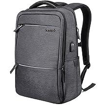 Inateck Mochila para portátiles laptop de 15.6 pulgadas con enchufe carga USB y protección anti-lluvia impermeable - Gris oscuro