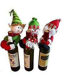 3 piezas Lindo Papá Noel y Muñeco de nieve y Elf Muñeca Botella de Vino Sostener la Fiesta de Navidad…