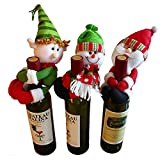 3 piezas Lindo Papá Noel y Muñeco de nieve y Elf Muñeca Botella de Vino Sostener la Fiesta de Navidad Decoración de la Mesa Ornamento