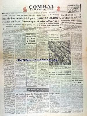COMBAT [No 2822] du 30/07/1953 - BRANLE-BAS MINIST...