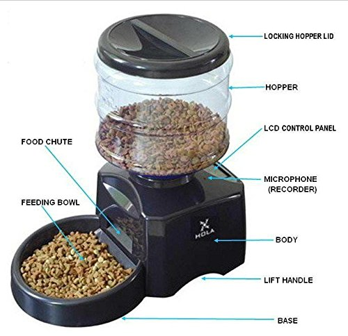 Haustier Futterspender Futterautomat Automatisch Futternapf für Hunde und Katzen mit Ton-Aufnahmefunktion ca.3kg Batterie-Betrieb Schwarz (Schwarz) - 2