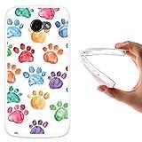 WoowCase LG K5 Hülle, Handyhülle Silikon für [ LG K5 ] Hund Fußabdruck Handytasche Handy Cover Case Schutzhülle Flexible TPU - Transparent