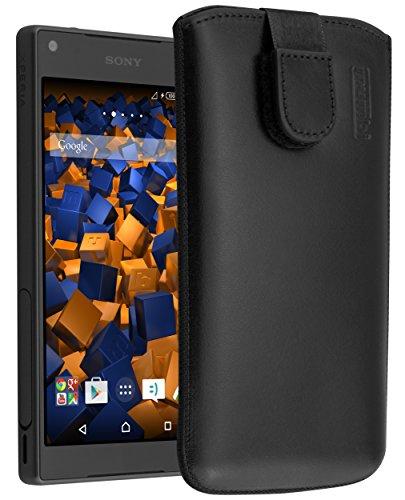 mumbi ECHT Ledertasche für Sony Xperia Z5 Compact Tasche Leder Etui (Lasche mit Rückzugfunktion Ausziehhilfe)