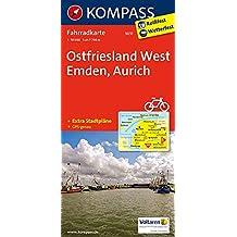 Ostfriesland West, Emden, Aurich: Fahrradkarte. GPS-genau. 1:70000 (KOMPASS-Fahrradkarten Deutschland, Band 3031)