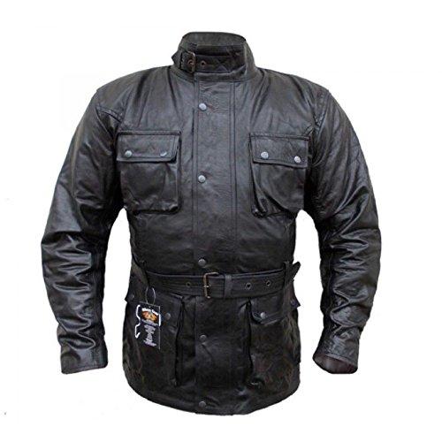 Bikers-Gear-UK-Giacca-Vintage-Wax-pelle-pieno-fiore-nero-TAGLIA-S