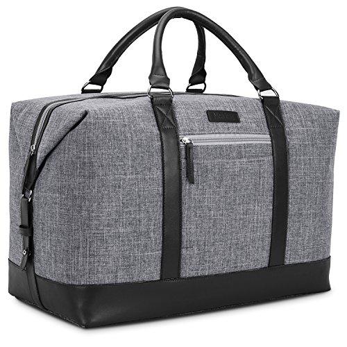 Vintage Duffel Bag Ultra-Faser Weekender Reisetasche Organizer Übernachtung Tasche Volleyball Sporttasche Tote Bag Leder Gepäck für Männer und Frauen,Grau-Schwarz -