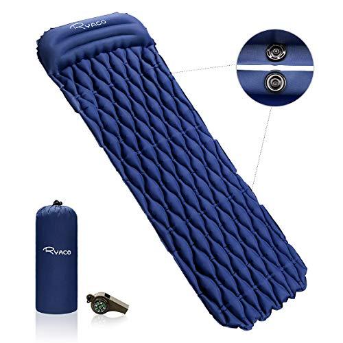 Ryaco materasso da campeggio gonfiabile con cuscino, letto gonfiabile da campeggio a prova d'umidità 6cm spessore 1 persona per backpacking, viaggio, spiaggia, all'aperto & interno (blu scuro)