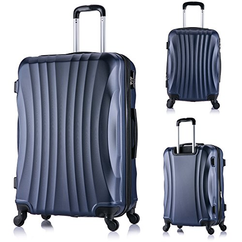 EUGAD #467 Reisekoffer Harschalenkoffer 4 Rollen , Reise Koffer Trolley Hartschale , Handgepäck M / L / XL / Set , leicht und günstig , Chic Spinner , Blau (XL, 76 cm & 110 Liter)