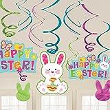 Amscan–670419espirales colgantes de decoración de conejo de Pascua