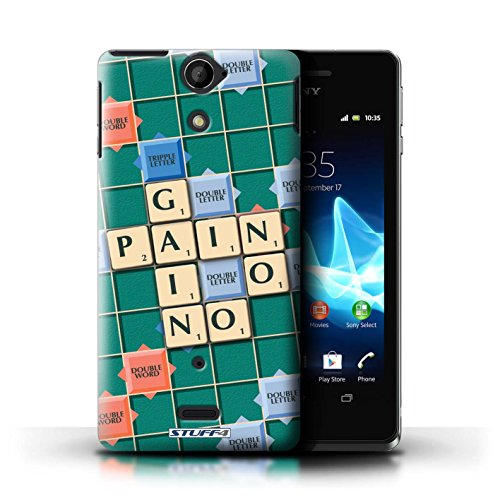 Kobalt® Imprimé Etui / Coque pour Sony Xperia V/LT25i / Ennemis Proximité conception / Série Mots de Scrabble Aucun Douleur Gain