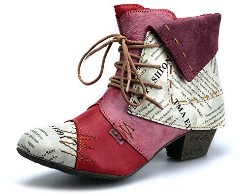 TMA 6106 Damen Stiefeletten Leder Damenschuhe Rot