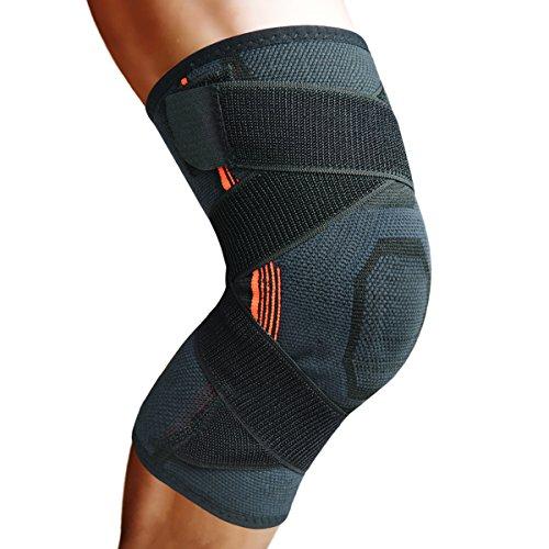 Attelle de genou avec coussinets rembourrés en gel et sangle de pression pour protéger le genou pendant la course, le sport, pour soulager la douleur et aide pour le rétablissement après une blessure - 1 pièce, Black-M