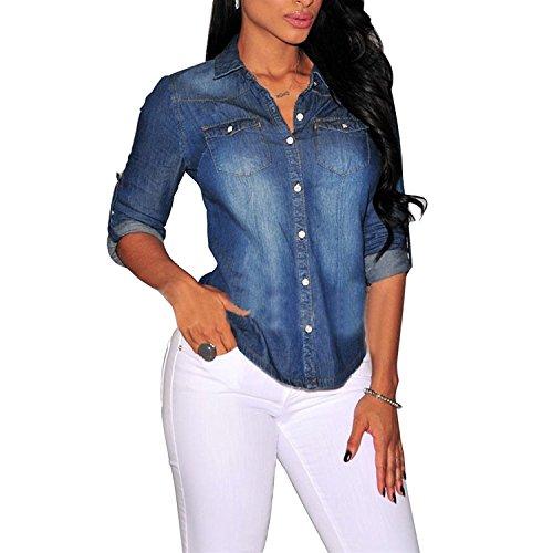 Biubiong camicia da donna manica lunga bluse jeans abito casuale