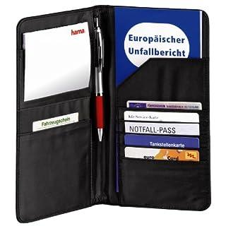 Hama Mappe für Fahrzeugpapiere (Auto Organizer für Reisedokumente, Kreditkarten, Führerschein etc.) schwarz
