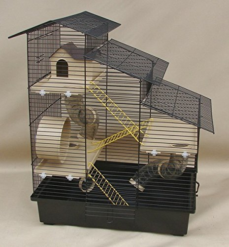 Super Hamsterkäfig, Nagerkäfig, Käfig'Kaskada' beige schwarze Schale Gratis Futternapf …