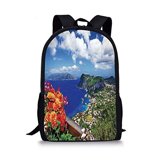 School Bags Island,Scenic Capri Island Italy Mountain Houses Flowers View from Balcony Landmark,Blue Green Orange for Boys&Girls Mens Sport Daypack Fox Girls Capris