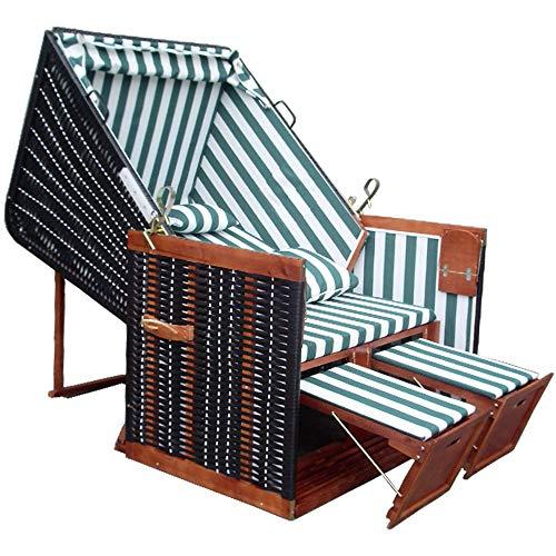 XINRO® Strandkorb für Balkon + Strandkorb Abdeckung Winterfest + 4X Kissen - grün-gestreifter Stoff - schwarzes Polyrattan - Strandkorb Nordsee -