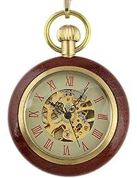 Reloj Bolsillo Cadena Mecánica Para Hombre Pedante Caja del Estilo Antiguo Madera Esqueleto Oro