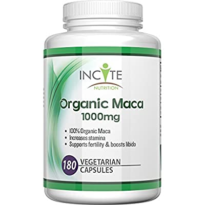 Organic Maca root 180 vegetarian capsules 1000mg MONEY BACK GUARANTEE - not powder, oil or tablets - Health Benefits Include increased fertility and helps with menopause, Vegan Maca helps both men & women. from Incite Nutrition