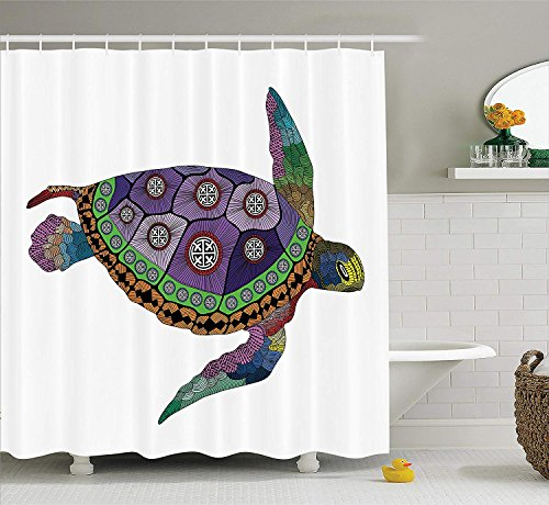 ruichangshichengjie Psychedelic Decor Shower Curtain, Sea Turtle with Colorful Ornamental Tattoos on Animal Art Work, Bathroom Decor Set with Hooks, 60 x 72 inches Long, Purple Orange Pink
