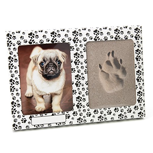 pet imprint Pfotenabdruck 3D Set Formschaum grau Hund, Katze Bilderrahmen aus Kartonage mit Pfötchen ohne Gips