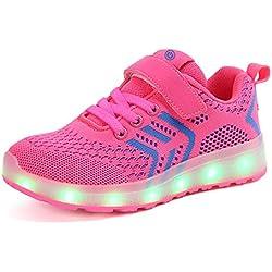 Axcer LED Zapatos Verano Ligero Transpirable Bajo 7 Colores USB Carga Luminosas Flash Deporte de Zapatillas con Luces Los Mejores Regalos para Niños Niñas Cumpleaños de Navidad (26 EU, Rosado)