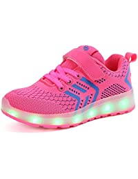 bevoker Kids LED Light Up Sports Shoes Upgraded LED Strip Trainers For Boys Girls