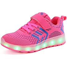 Axcer LED Zapatos Verano Ligero Transpirable Bajo 7 Colores USB Carga Luminosas Flash Deporte de Zapatillas