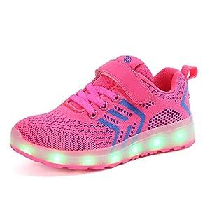 Axcer Unisex Kinder LED Schuhe 7 Farbe USB Aufladen Led Leuchtend Outdoor Sportschuhe Low Top Atmungsaktives Ultraleicht Laufschuhe Gymnastik Turnschuhe Für Jungen Mädchen