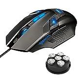 TeckNet Ratón Gaming Raptor Pro 7200DPI Ratón óptico para gaming Programable Gaming Mouse, 8 Botones programables, Sintonización peso cartucho, LED personalizable, Interruptores Omron Micro