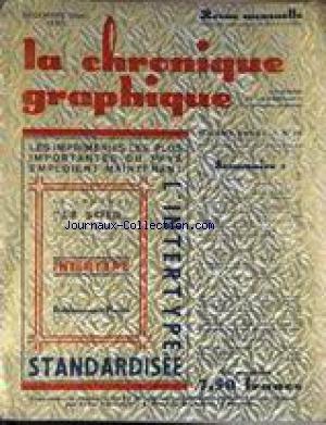 CHRONIQUE GRAPHIQUe (LA) [No 16] du 01/12/1930 - ANTOINE SEYL - HONORE DAUMIER PAR P. FLOUQUET - L. TARIGLE - L. POWELL - FORMATION DES APPRENTIS LITHOGRAPHE A NEW YORK - SANDER PIERRON - LA MODERNE GRAVURE SUR BOIS EN BELGIQUE - JEAN RICKALL.