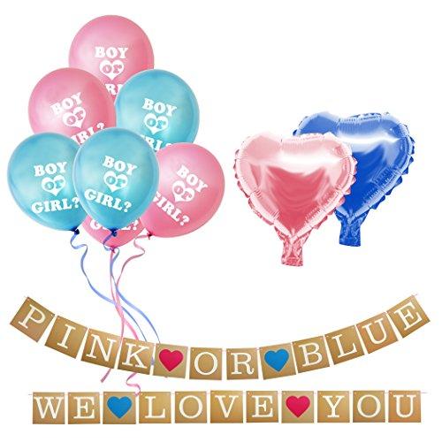 BELLE VOUS Junge Oder Mädchen Banner - Pink or Blue, We Love You Banner Karten - Geschlecht Offenbaren Ballons Set für Baby Dusche, Geschlecht Zeigen Party und Schwangerschaft Ankündigung