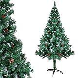 OZAVO Künstliche Weihnachtsbäume, Christbaum mit Kiefernzapfen, inkl. Metallständer, Tannenbaum 180cm Hohe, schwer entflammbar, Grün