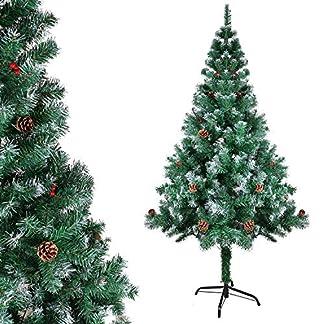 OZAVO Árbol de Navidad Blanco Artificial de Pino(Blanco,150cm 400 Ramas),Decoración Navideña,Maxi-Relleno PVC Abeto,Soporte Metálico (Blanco, 150Cm 400 Ramas)