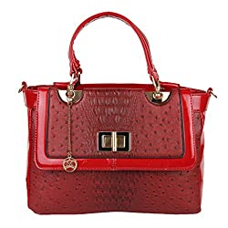 Moedbuille Red Letherette Satchel Handbag