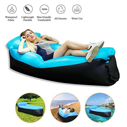 Aria couch, portatile impermeabile materasso con sacchetto per la conservazione, aria cuscino integrato, pouf gonfiabile per interni esterni, gonfiabile divano per viaggi, campeggio, party, lago, sabbia., blu - nero