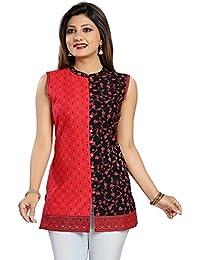 Color Petal Red Colour Cotton Printed Short Kurti For Women