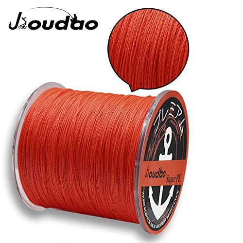 JIOUDAO Angelschnur Hochleistungsstarke Superline 10LB-100LB 300m (328 Yards) 4 und 8 Stränge PE Angelschnüre (orange, 30lbs-0.25mm-13.6kg)