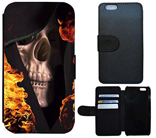 Schutz Hülle Flip Cover Handy Tasche Etui Case für (Apple iPhone 4 / 4s, 1068 Löwe Cartoon Braun Türkis) 1062 Totenkopf Skull Flammen Gelb Schwarz