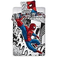 Faro 2 Tlg Marvel Spiderman Kinderbettwäsche Bettwäsche 140x200+70x90, Baumwolle, Mehrfarben, 200 x 140 cm