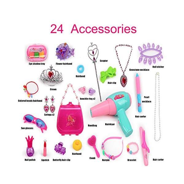 SUUKI Trucchi Bambina, Specchiera Bambina con 24 Accessori, Toeletta Giocattoli Bambina con Set Parrucchiera Bambina… 2 spesavip