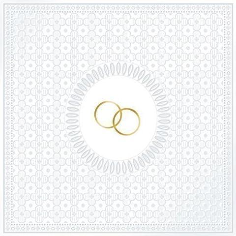 Blanc Mariage Relief Golden Anneaux Pack de 15Serviettes en papier 13x 13