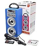 DYNASONIC 025 - Altoparlante Bluetooth con modalità Karaoke 10W | Wireless portatile compatibile con computer, telefoni ecc con microfono incluso | Lettore SD USB e lettore Mp3, Radio FM (Blu)