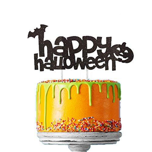 (LissieLou Happy Halloween Cake Topper, Glitzer Schwarz Fledermaus und Kürbis Happy Halloween Kuchen Dekoration schwarz)