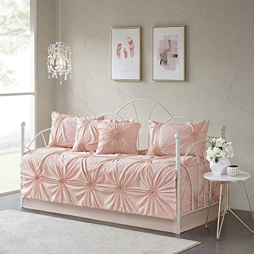 Madison Park Leila Tagesdecke, Baumwollmischung, Shabby Chic, Rouge -