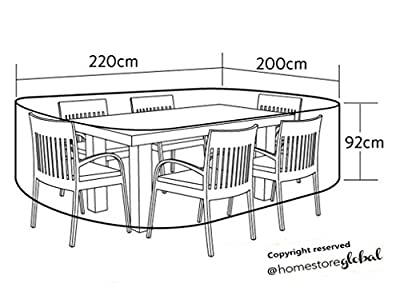 HomeStore Global groß Schutzhülle für Gartenmöbel (L) 220 x (D) 200 x (H) 92cm - Dick und hochwertigen 600D Polyester Canvas, All-Wetter-beständig und anti-Feuchtigkeit - Grau von HomeStore Global - Gartenmöbel von Du und Dein Garten