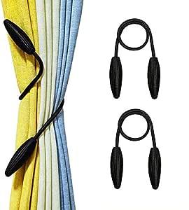 Home Cloud Curtain Holder tieback/Alloy Curtain Tieback/Drape tie Backs, Decorative Unique Design 2 pcs(Mulitcolor) (Black)