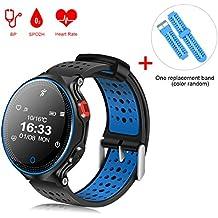 Smart Watch QIMAOO Reloj Inteligente Smart Watch Bluetooth 4.0 GPS WatchTracker IP68 impermeable de Natación Reloj Deportes Inteligentes Podómetro ,Sueño,Notificación de SMS Pulsera Actividad Inteligente para Android 4.4 e iPhone 8.0(X2)